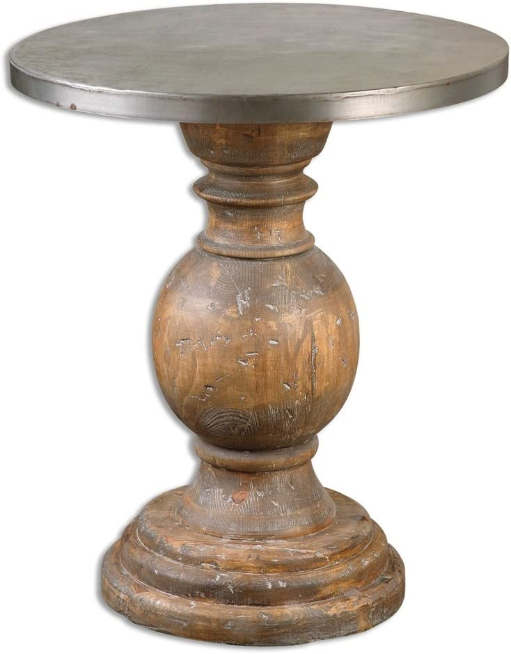 MY SWANKY HOME Round Column Oak Wood Pedestal Table | Contemporary Silver Top Transitional: Kitchen & Dining