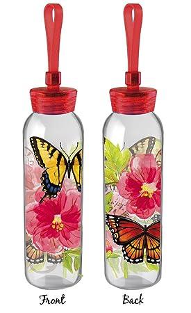 Cypress Home mariposas y flores de doble cara para botella de agua de cristal, 18