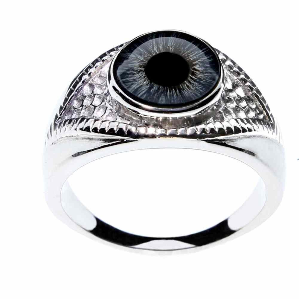 Steel Dragon Jewelry Unisex Blue Glass Eye Ring in an Eye-Shaped Stainless Steel Setting by (Blue Human, 7)