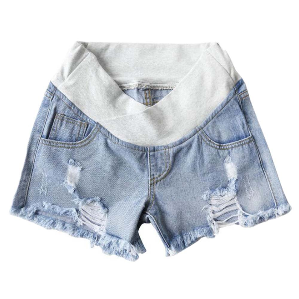 Keephen Pregnant Mom Casual Denim Shorts - Maternity Care Belly Comfort Breathable Loose Jean Shorts