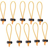 Foto&Tech 10-Pack Multipurpose Extra Thick Toggle Tie/Cable Tie and Organizer/Adjustable Whips/Elastic Loop/Instant Clutter Killer/Tangle Tamer/Cable Management for Cord & Cable Reusable (Orange)