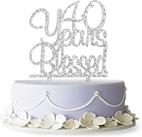 60 Years Blessed Acrylic Cake Topper 60th Birthday Anniversary Party Decoration Supplies TM Gold Firefairy