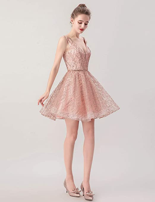 396865984 Amazon.com: Clearbridal Short V-Neck Homecoming Dress for Junior Rose Gold Prom  Dresses Party Dress 2019: Clothing