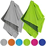 Vancle Cooling Towels 2 Pack, Cooling Towel for Instant Cooling Relief in Hot Environment, Ice Towels Stay Cool for Sports and Fitness, Gray & Green, 40 x 12 inch