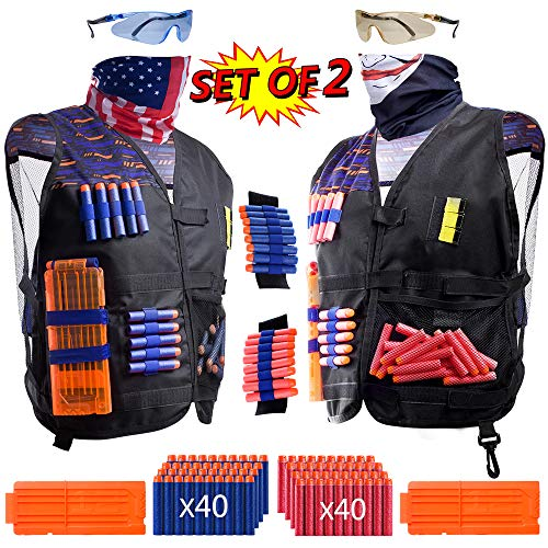 2 Pack Kids Tactical Vest Kit for Toy Guns War: 'Patriot VS Avenger', 2 Set Accessories Compatible with Nerf Guns N-Strike Elite Series by Hely Cancy