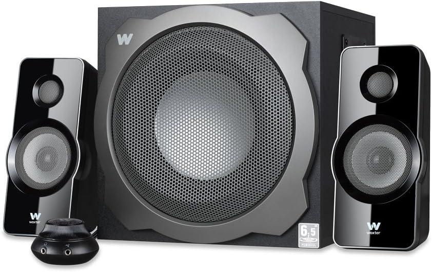 Woxter Big Bass 260 S - Altavoces 2.1 (150W, subwoofer de madera, control de volumen con cable y doble conexión, adecuado para TV, PC y videoconsolas), plata