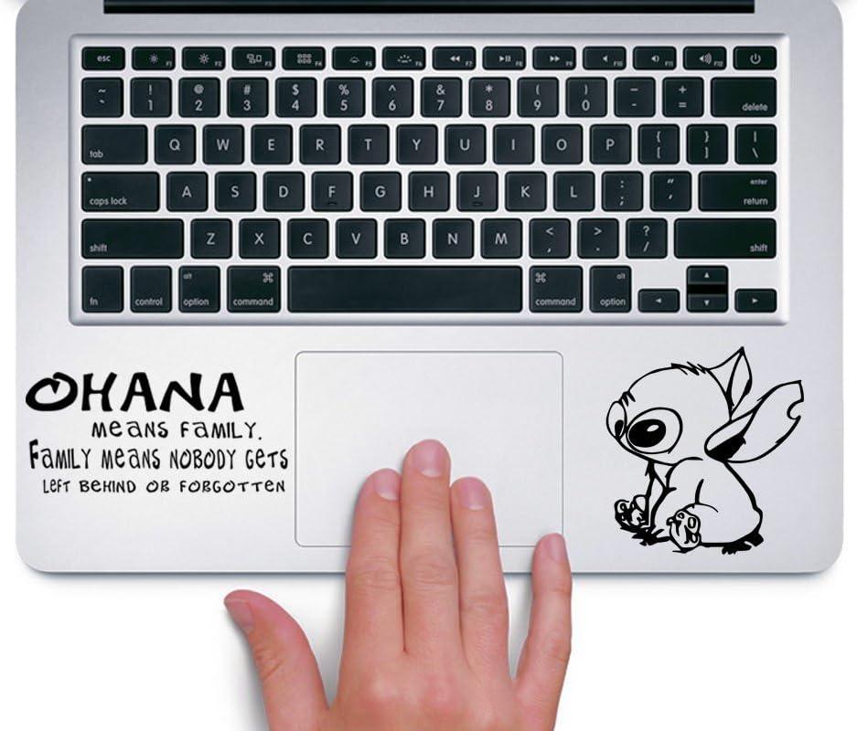 Stitch Ohana Means Family Apple Macbook Trackpad Keyboard Decal Sticker - Black