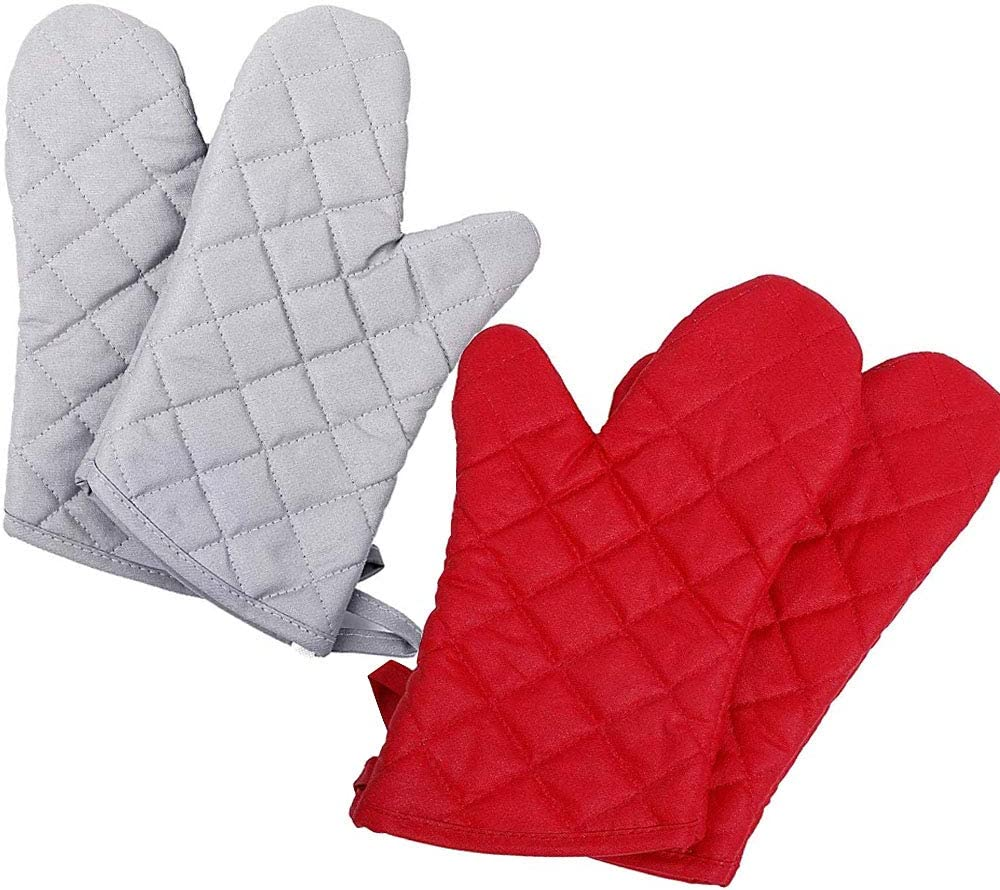 2 Pack Oven Mitts Set Heat Resistant up to 428F/220°C Soft Cotton Lining with Non-Slip Surface for Safe Cooking Baking