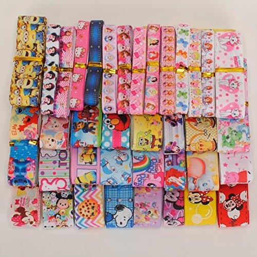 Mix Ribbon lively cartoon pattern ribbon set mixed Style/size randomly 12y/lot (1y/pc)