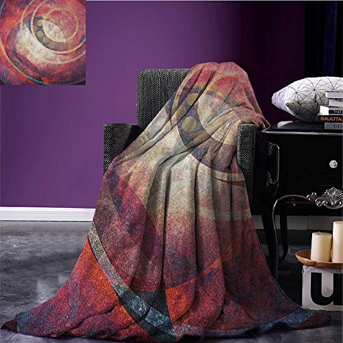 Antique waterproof blanket Grunge Circles Ancient Aged Display Dynamic Artistic Old Fashioned Retro Elements plush blanket Red Yellow ()