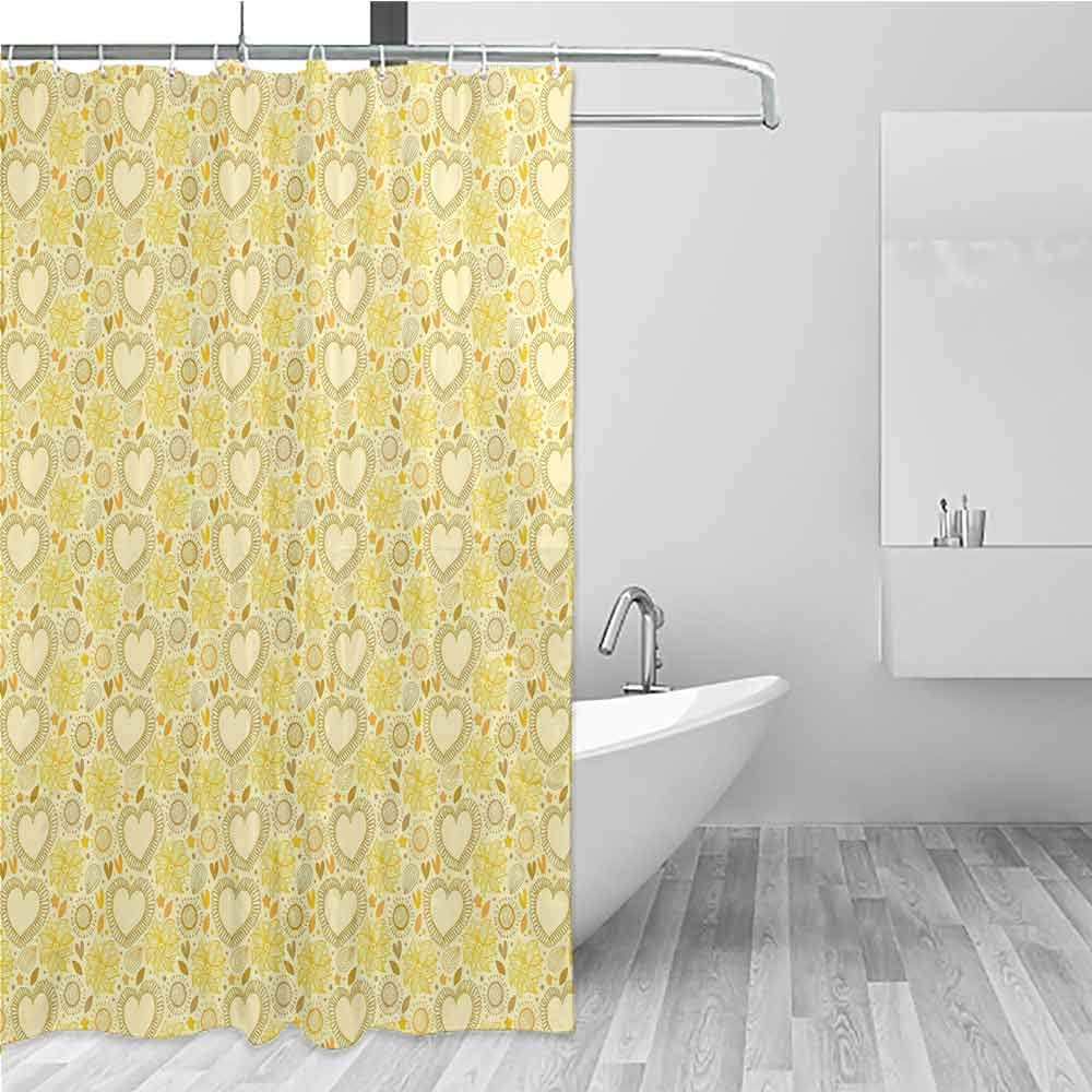 BE.SUN Polyester Fabric Shower Curtain,Yellow,Shower stall Curtain,W48x84L Multicolor by BE.SUN