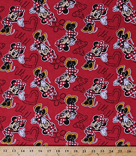 Flannel Disney Fabric - Flannel Minnie Mouse Monogram Disney Cotton Hearts Bows Red Flannel Fabric By the Yard (54758-D650710)
