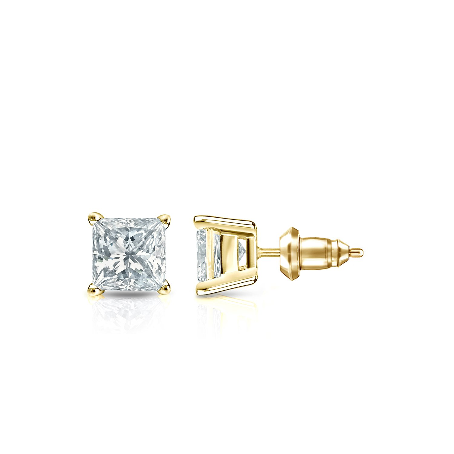 14k Yellow Gold 4-Prong Basket Princess Diamond Stud Earrings (1/2ct,White,SI1-SI2)