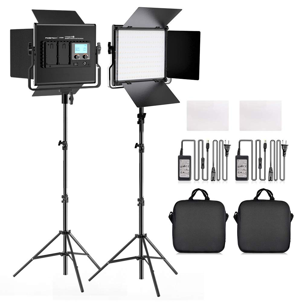 FOSITAN L4500KII Bi-Color LED Video Light Barndoor Kit 3960 Lux CRI 96+ 200 SMD LED Light for Studio Photography Shooting (U Bracket, LCD Display - 2 Packs) by FOSITAN