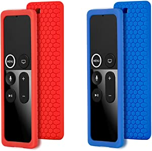 Remote Case Cover for Apple TV 4K 4th 5th Gen Remote, Protective Silicone case for New Apple TV 4K 4th 5th Siri Remote Controller, Full Access, Anti-Slip, Shock Proof (Blue and Red)