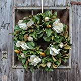 Darby Creek Trading Classic Real Touch White Magnolia Leaves Everyday Decor Spring Wreath 30''