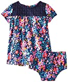 Hartstrings Baby Girls' Floral Print and Crochet Knit Dress and Panty Set, Blue Floral, 12 Months