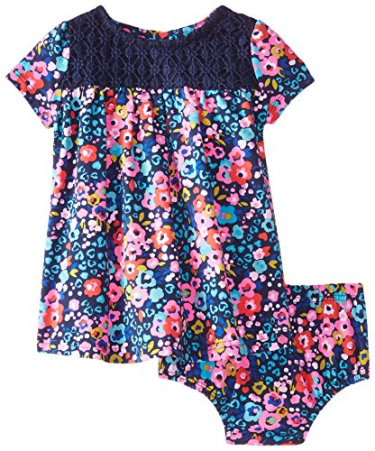 UPC 795189765900, Hartstrings Baby Girls' Floral Print and Crochet Knit Dress and Panty Set, Blue Floral, 24 Months