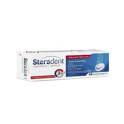 Steradent - Comprimidos limpiadores de prótesis dentales Triple Action Plus - 60 comprimidos