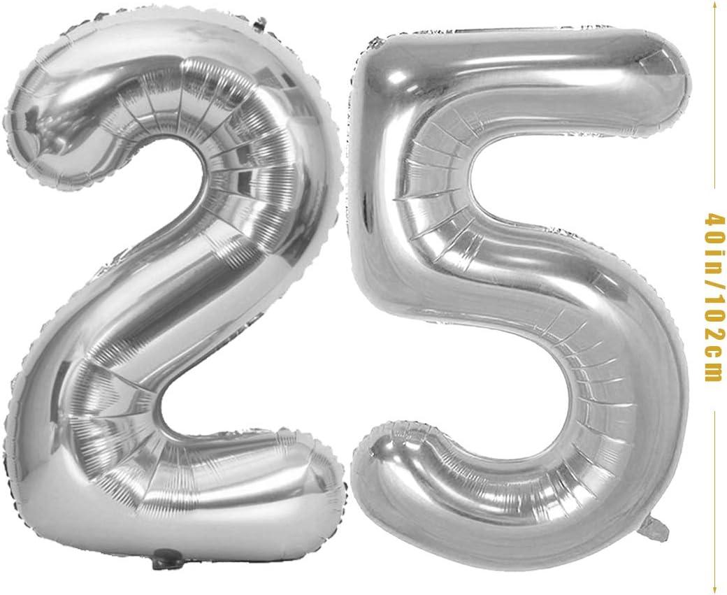 N/úmero 25 Globos de Papel Plata para Hombres y Mujeres Adultos Oro Negro Decoraci/ón de Fiesta decoracion 25 a/ños Globos 25 Cumplea/ños Happy Birthday Bandera Feliz Cumplea/ños 25 A/ños