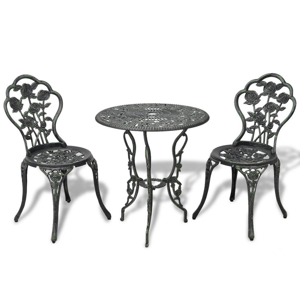 vidaXL 3tlg. Bistro Set Tisch 2 Stühle Essgruppe Sitzgruppe Gartenmöbel Aluguss