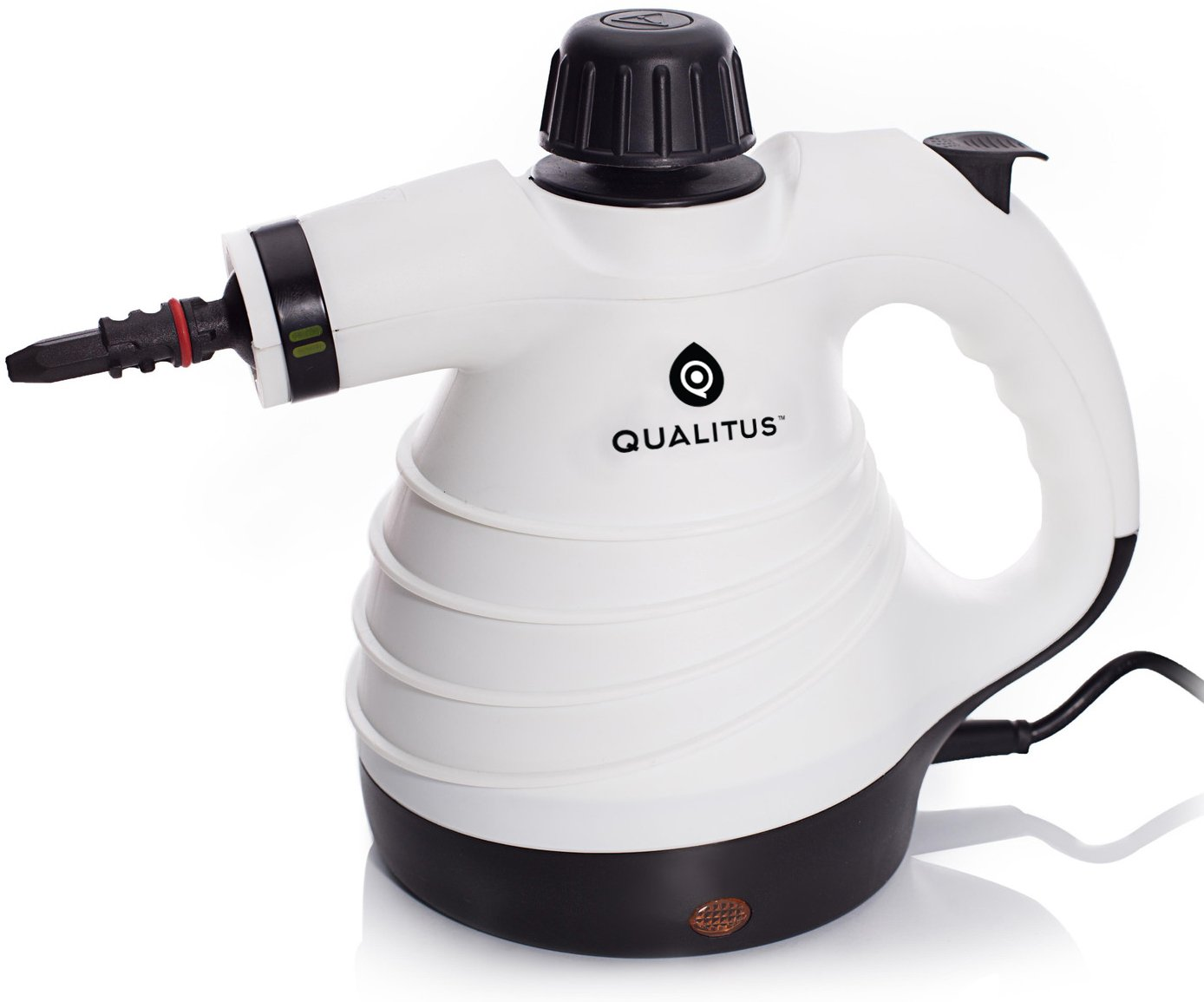 Qualitus Cleveland Steamer ETL Listed Handheld Multi-Purpose Pressurized Steam Cleaner & Sanitizing System w/ Attachments & Long 12 ft Cord - Perfect for Stain Removal, Curtains, Bathrooms, & more AX-AY-ABHI-118492