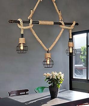 Lámparas de techo, Retro Tres Cabezas Cuerda De Hierro ...