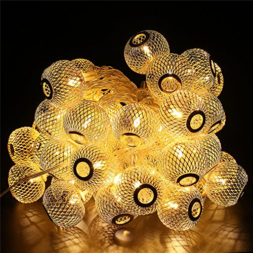 BlueFire 50 Led Bulbs 31ft Long Lantern Fairy Lights Christmas String Lights Outdoor Decorative Lights for Garden/Home/Party/Bedroom/Xmas/Outdoor Decorations (Warm White) (Plug In Led Lantern compare prices)