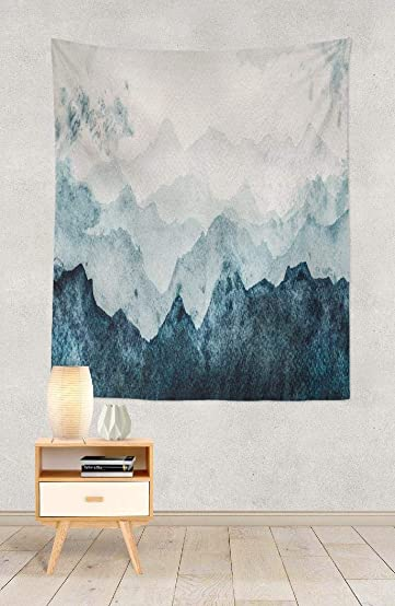 Summor Wall Tapestry, Wall Hanging Blue Mountains Silhouette Watercolor Painting Mountain Wall Tapestry for Bedroom Wall Decor Dorm Room Decor College Decor 80 x 60 inch