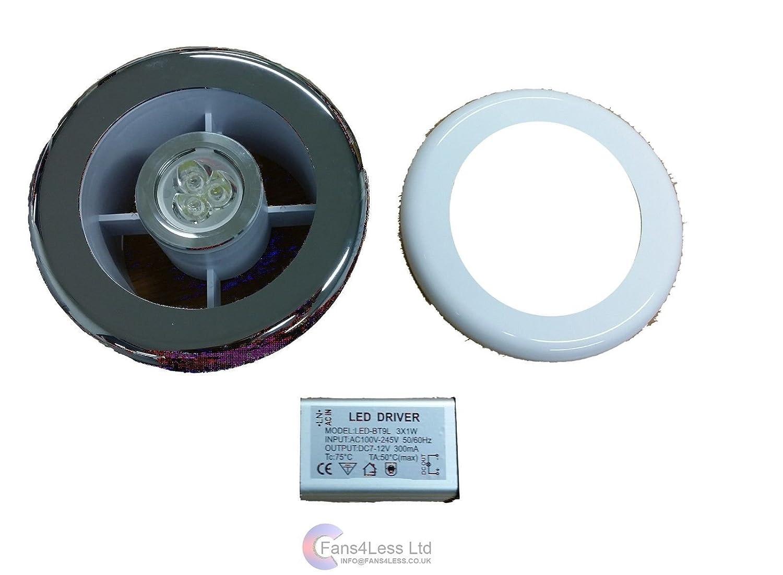 Bathroom Extractor Shower Light Fan Kit 4 Chrome White Timer With Transformer