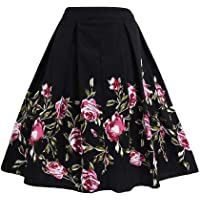 FTVOGUE Vestido Informal para Mujer, Estilo clásico, Cintura Alta, con Estampado Floral, Falda Media