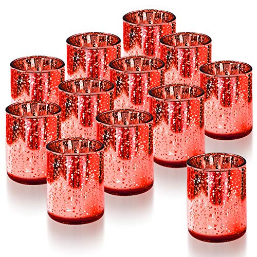 Homemory Set of 12 Votive Candle Holders Bulk, Red Tealight Candle Holder, Mercury Glass Candle Holder for Wedding, Parties, Valentine's Day Decoration and Home Decor from Homemory