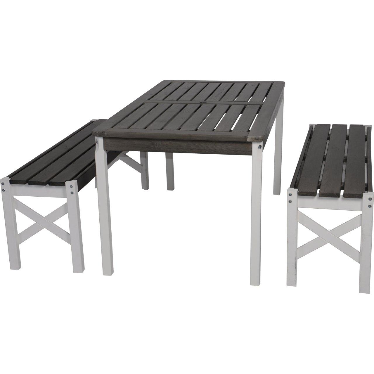Gartenset Tallin - 2 Bänke und 1 Tisch aus Kiefernholz in grau / weiß