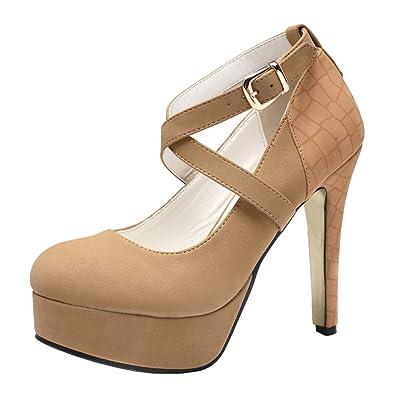 getmorebeauty Women's Tan Fashion Thin Strappy High Heeled Round Toe Snake Print Dress Shoes (US 5, Tan) | Pumps