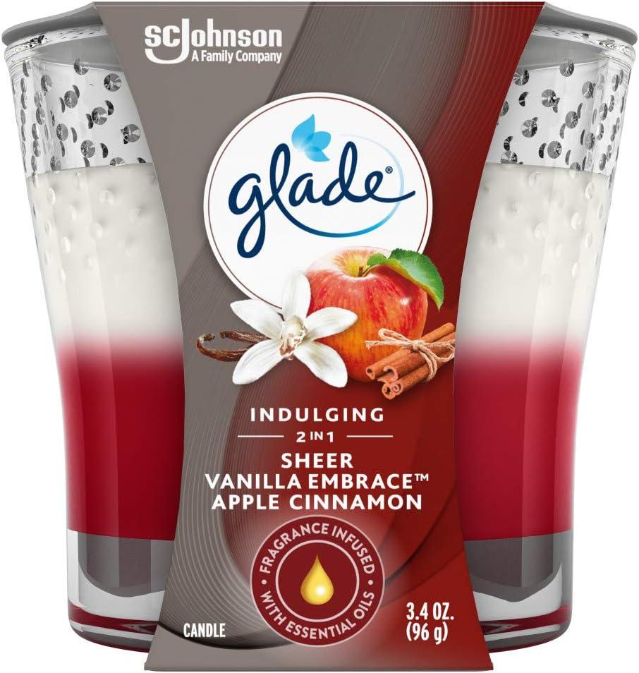 Glade Candle Jar, Air Freshener, 2in1, Sheer Vanilla Embrace & Apple Cinnamon, 3.4 Oz
