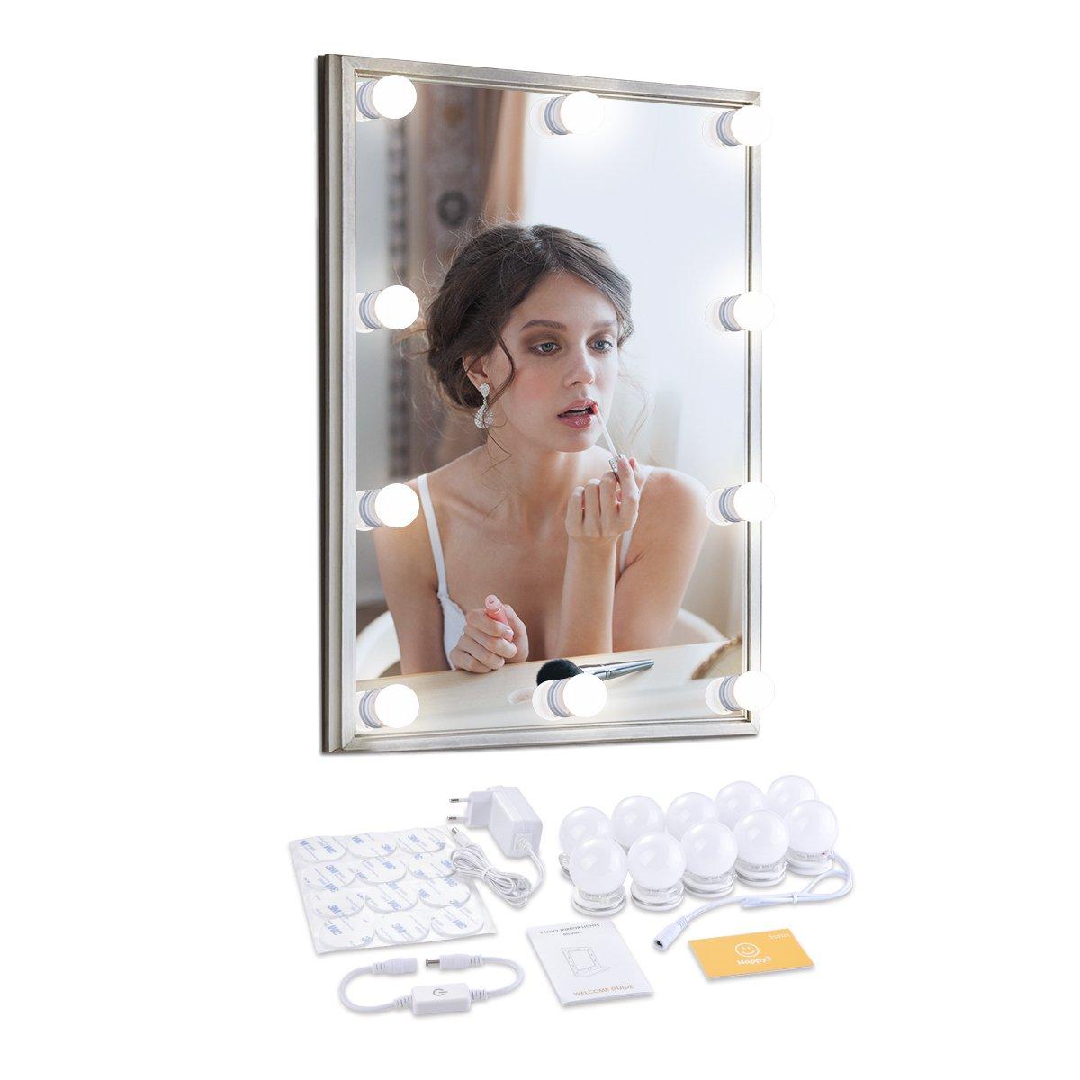 Memoru Kit Luci Stile Hollywood 3.7m con 10 Lampadine LED di Vanità Dimmerabile per Make up Specchio Trucco Cosmetico Camera Spogliatoio Bagno 4500K Bianco Naturale [Classe di efficienza energetica A+++] BestEstore