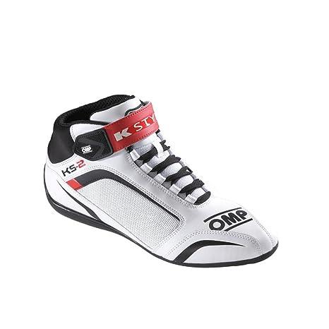 OMP OMPIC/81212044 Zapatillas, Blanco/Negro/Rojo, Talla 44