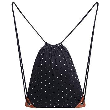 Uworth Bolsa de Cuerdas Bolsa con Cordón Mochila Lunares Negro: Amazon.es: Deportes y aire libre