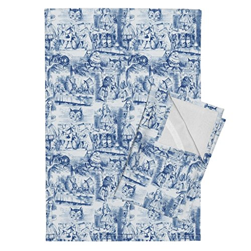 (Roostery Alice Tea Wonderland Toile Blue and White Blue Tenniel Tea Towels Curiouser and Curiouser! an by Peacoquettedesigns Set of 2 Linen Cotton Tea)
