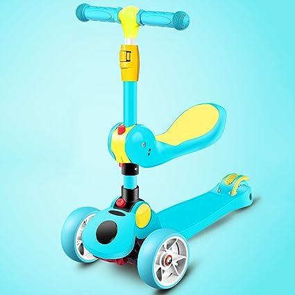 ca30518d0 QFFL huabanche Scooter puede sentarse Scooters tres en uno Flash de cuatro  ruedas Scooter infantil Bloque