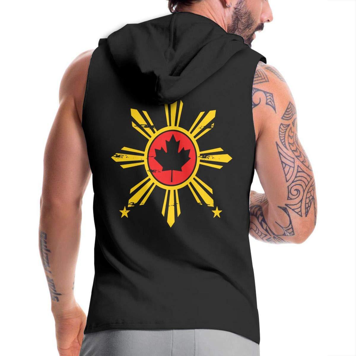 BB/&YYY Filipino Canadian Flag Mens Sleeveless Zipper Fleece Hoodie Active Workout Jacket