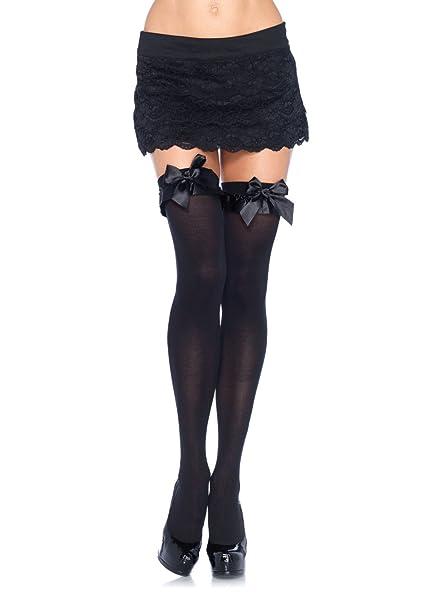 e98fb453f Amazon.com  Leg Avenue Womens Satin Ruffle Trim and Bow Thigh Highs ...