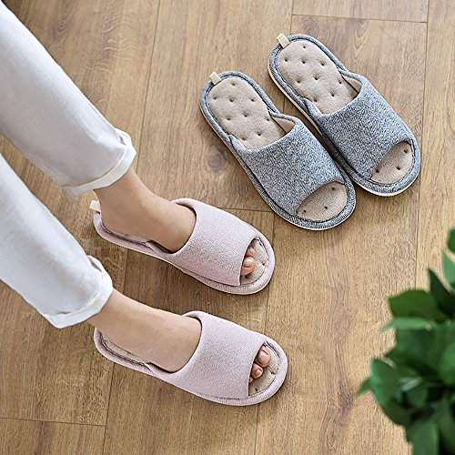 Flax Shoes Sole Washable Home Mens Toe Pink Women Slip Soft Shoes Non 4 Cotton Slippers Unisex Indoor Open MAGILONA Casual aT70nxx