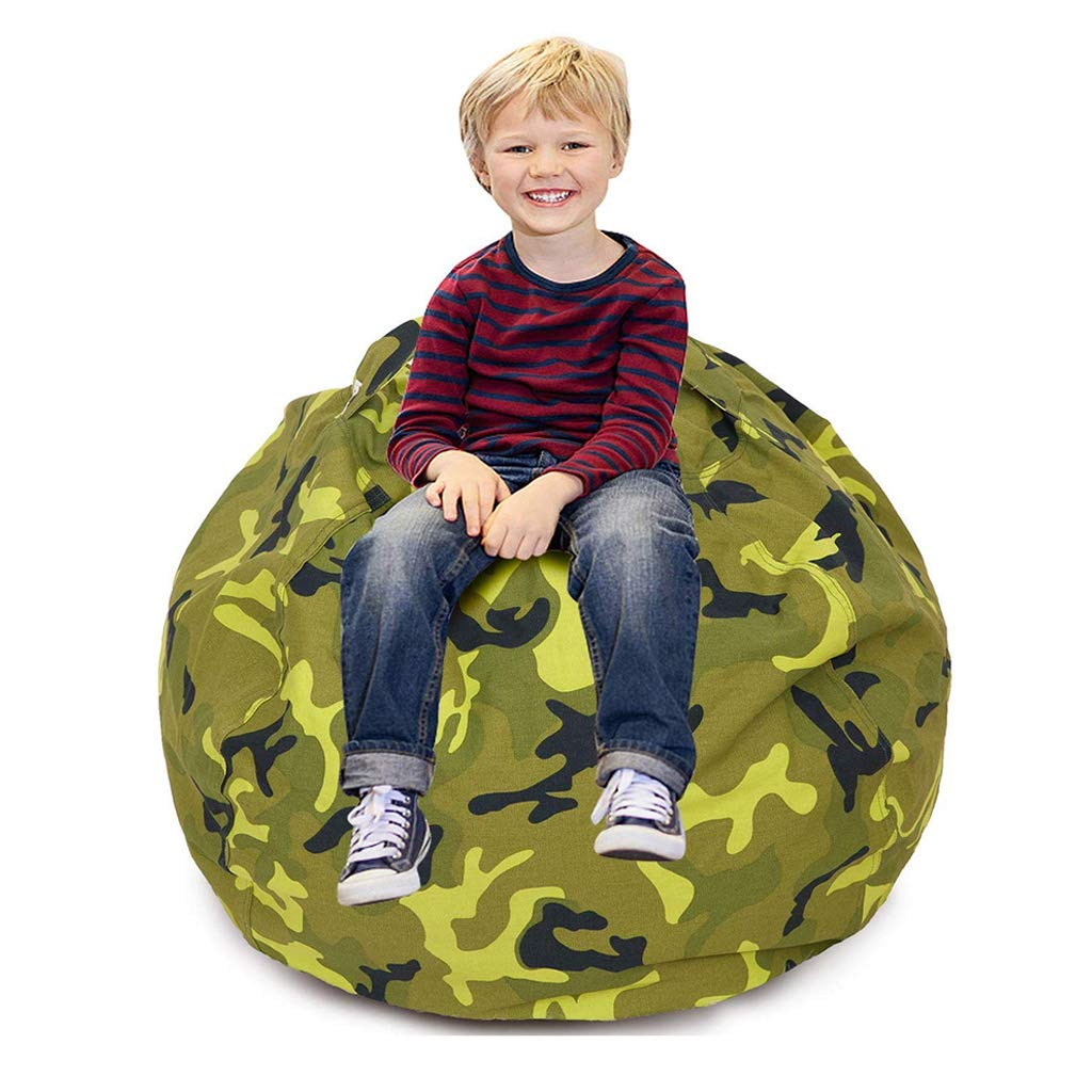 CALA LIFE Kids Stuffed Animal Bean Bag Chairs Camo, Extra Large Beanbag Chair Bean Bag Cover – 100 Plush Toys Holder and Organizer for Kids Room -100 Cotton Canvas Cover – Camo Green