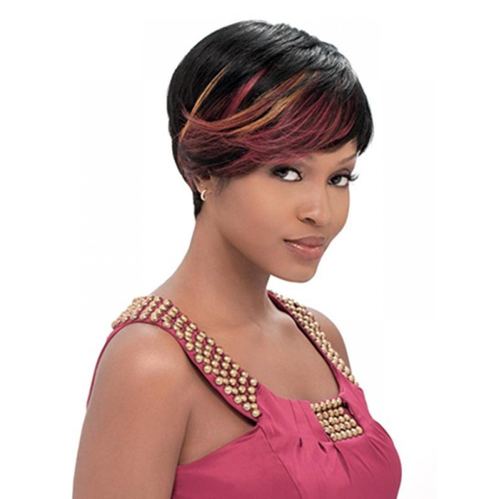 Amazon Sensationnel Bump Human Hair Wig Fab Fringe 1b Hair