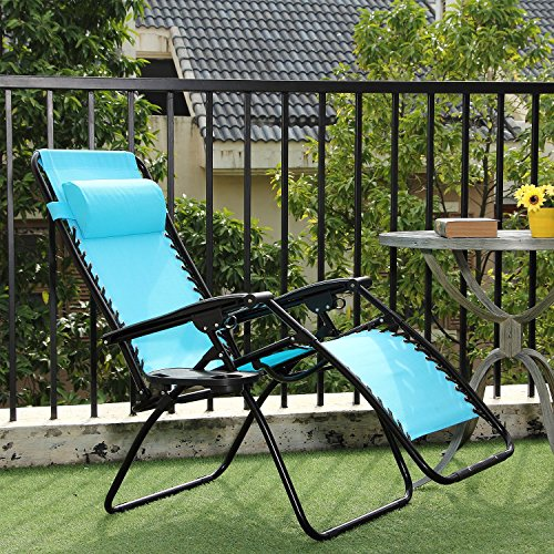 Ollieroo 2-Pack Blue Zero Gravity Lounge Chair with Pillow and Utility Tray...