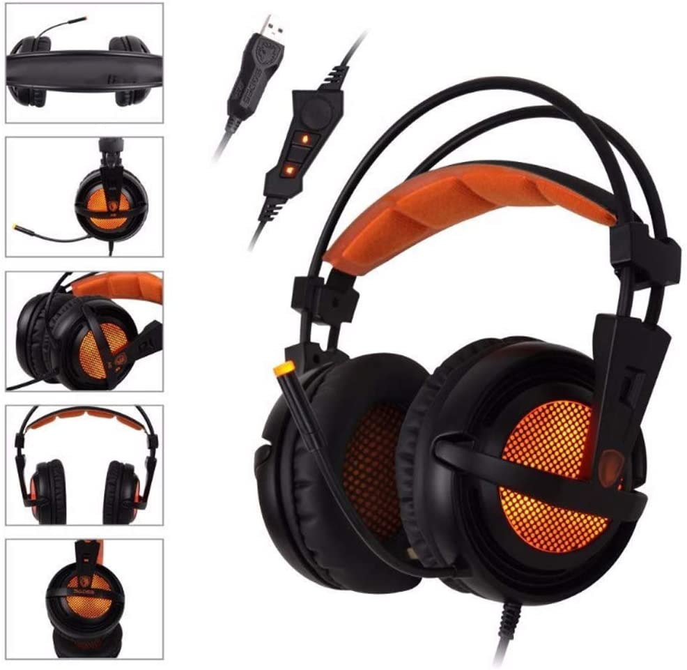YYZLG A6 Gaming Headset 7.1 Channel USB Computer Glowing Gaming Headset