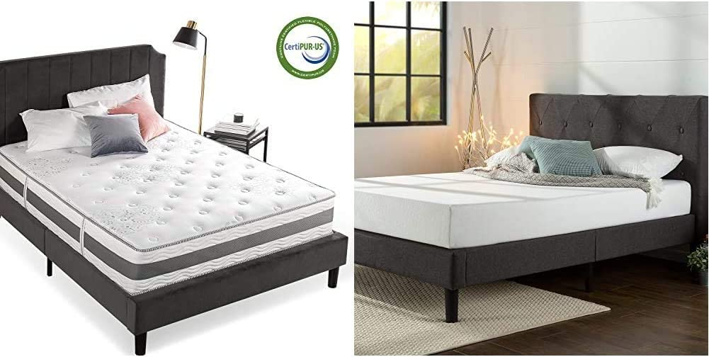 Zinus 12 Inch Gel-Infused Memory Foam Hybrid Mattress, Queen & Shalini Upholstered Diamond Stitched Platform Bed/Mattress Foundation/Easy Assembly/Strong Wood Slat Support/Dark Grey, Queen