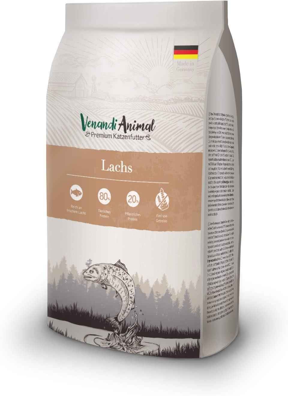 Venandi Animal - pienso seco para Gatos - Salmón como pienso seco - Completamente Libre de Cereales - 1,5 kg
