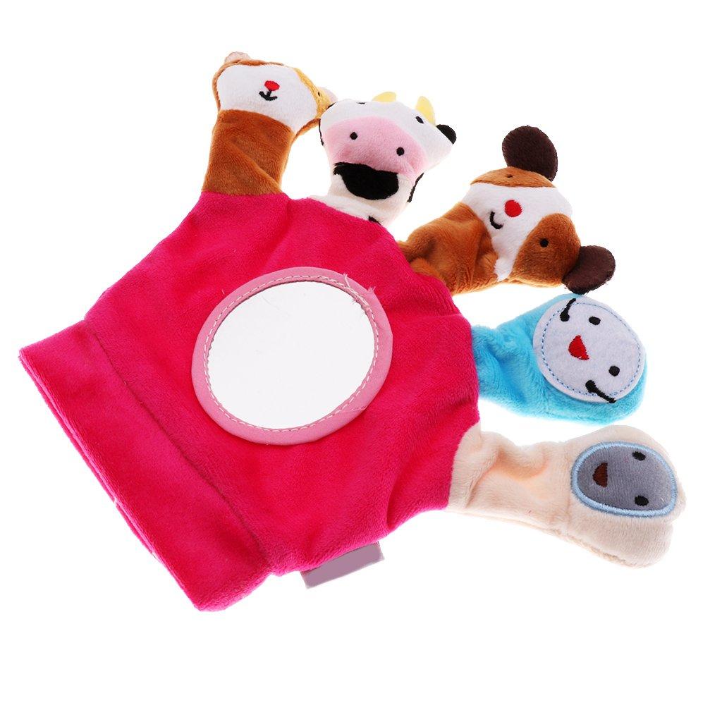 Baoblaze Babyspielzeug Spielhandschuh Handschuhe mit Fingerpuppen Plüschfigur Kleinkindspielzeug Fingerspielzeug - Grün
